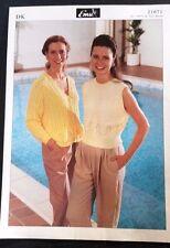New Emu double knitting pattern 21671 Ladies cardigan + top 81-107 cm
