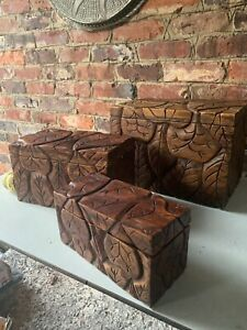 Set of 3 Vintage Carved Wooden Nesting Boxes PIER 1 Imports 1990s
