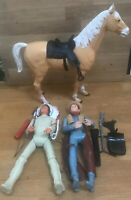 """Vintage Marx Toys Moveable Cowboy & Indian Action Toys 12"""" 30cm Tall Accessories"""