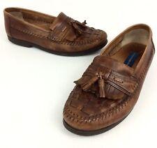 GIORGIO BRUTINI Men's 10D 👞 Brown Woven Top Tassel Moc Toe Loafers Dress Shoes