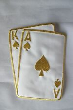 "#2265LC 5-1/2"" Gold Poker Card Ace King Of Spades Suit Embroidery Applique Patch"