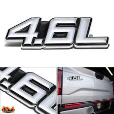 """4.6L""Polished Metal 3D Decal Silver&Black Emblem For Toyota/Mercedes/Porsche"