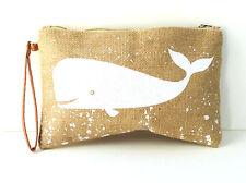Whale Print Burlap Clutch Wrist Wallet Makeup Accessory Bag