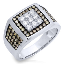 Mens 1.54 CT 14K White Gold Natural Round Champagne White Diamond Mans Ring