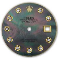 REFINED MENS 2-TONE DATEJUST BLACK MOP DIAMOND DIAL FOR ROLEX-36