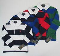 NWT Ralph Lauren Boys Long Sleeve Navy Striped Jersey Rugby Shirt Sz 4 NEW $45