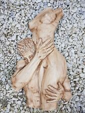 Male Female nude lovers torso plaster wall decoration hanging plaque handmade