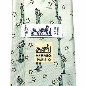 -  HERMÈS cravate - Décor De Saxophoniste Jazz Jazzman - 100% soie vintage