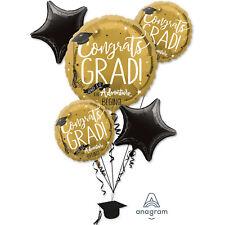 Classy Black & Gold Graduation Balloon Bouquet Congrats Grad The Adventure Begin