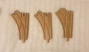 Wooden Railway 3 Curved Interchanging Track Pieces (compatible with Brio)