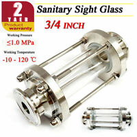 """3/4"""" Sanitary Sight Glass in-Line Flow Sight Glass SS304 Tri Clamp W/ Clamp End"""