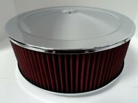 "14"" X 5"" Round Chrome Washable Red Air Cleaner Flat Base Extreme Chevy SBC 350"