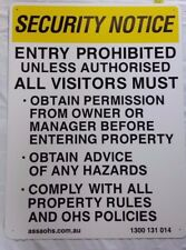 WARNING SECURITY NOTICE SAFETY SIGN COLORBOND STEEL METAL 600x450mm