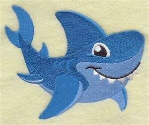 """Machine Embroidered Smiling Shark Applique Size 3.84"""" x 3.21"""""""
