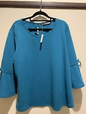 Katies Teal Top, Size XL, New With Tags, Tie Sleeve, 3/4 sleeve
