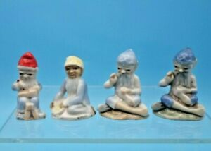 4 Vintage Wade PIXIE Figurines~Red~Yellow~Light & Dark Blue~Gnome/Elf