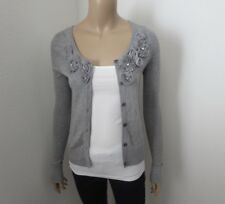Abercrombie Womens Flower Embellished Cardigan Size Small Gray