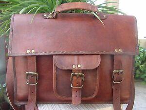 """Men's Genuine Vintage Brown Leather Messenger Bag Shoulder Laptop 15"""" Briefcase"""