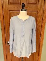 Ann Taylor Tunic Shirt S Blue 100% Silk Tabbed Sleeve Blouse Top