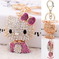 Pink Hello Kitty Key Chain Crystal 3D Ring Car Purse Wallet Bag Decor Gift Xmas
