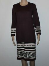 Handmade Burgundy Knitted Knee Length Long Sleeve Winter Casual Dress Sz 14 / 42