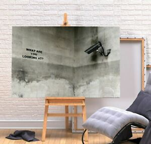 BANKSY WHAT YOU LOOKING AT 20X30 INCH FRAMED CANVAS ART WALL COVERING HANGING