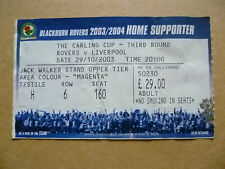 Ticket- BLACKBURN ROVERS v LIVERPOOL, Carling Cup 3rd RD, 29 October 2003