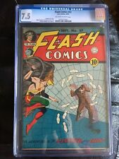 FLASH COMICS #57 CGC VF- 7.5; OW-W; Shelly Hawkman cover (9/44)! scarce!
