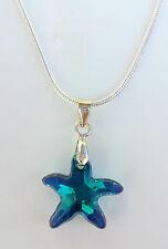 Kette silberfarben kreiert mit Swarovski® Kristall Seestern Stern Blau Türkis