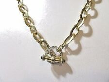NECKLACE SHINY CHAIN LINK WITH FANCY CRYSTAL TOGGLE CLASP DESIGNER NOLAN MILLER
