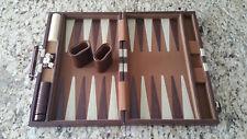 Nice Vintage Backgammon Game Set Faux Brown Striped Leatherette Case - Large