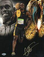 GOLD USAIN BOLT SIGNED OLYMPICS 11X14 PHOTO AUTHENTIC AUTOGRAPH BECKETT BAS COA