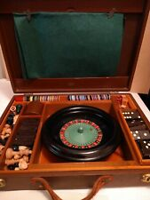 ROULETTE, CHESS, CHECKERS, DOMINOS, BACKGAMMON game Chips Dice Vtg SET Briefcase
