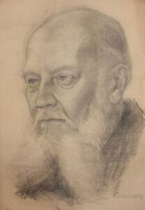Antique large pencil drawing male portrait signed