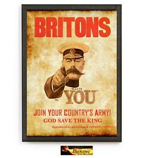 Briton World War Army Wants You Poster Print ONLY Wall Art A4 Gift WW2