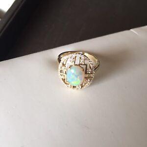 1.35CT Solid Opal Ring set 9K Gold W/Ground Brilliant CUT 0.265CT Diamond #41709