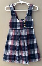 Vintage Alyssa Girls Sz 5 Jumper Pinafore Dress Uniform Plaid Maroon Navy Cream
