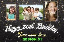 Personalised Happy Birthday Banners Printed 3ft x 2ft PVC Elegant Party Banner