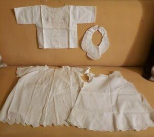 Baby Girl Dress & Slip Collar/ Bib Undershirt Hand Made Embroider Pearl Buttons