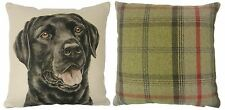 EVANS LICHFIELD BLACK LABRADOR BEIGE FILLED REVERSIBLE TARTAN CUSHION 43CM - 17""