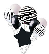 Zebra Print Balloon Bouquet Happy Birthday Baby Shower Animal Safari Stripes 8pc