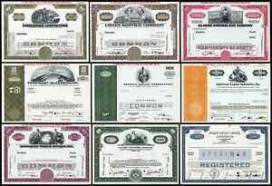 Lot of 9x American Stock and Bond Certificates marked SPECIMEN