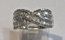 1.25 Ct. DIAMOND CRISS CROSS BAND RING, PLATINUM, SS .925 SZ 9