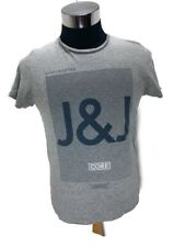 """Jack And Jones Mens T-shirt Grey Size Large Short Sleeve  Pit To Pit 22"""""""