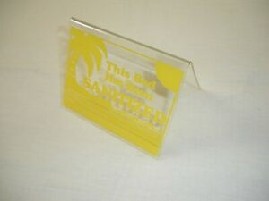 "This Bed Has Been Sanitized Acrylic Tent Sign 3.5x4.5"" Yellow"