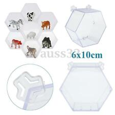 "Hexagonal Clear Acrylic Plastic Base Display Show Box Case Protection 2.4"" x 4"""