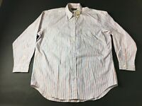 J Crew New Mens Blue Striped Front Pocket Button Front Shirt Size 16-32