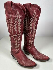 Women's Old Gringo Boots Mayra Bis Red Embroidery Relaxed Fit Size 8.5 L1213-1
