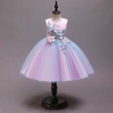 Niñas Princesa Vestido de Fiesta Rainbow Disfraz Cumpleaños Boda Carnaval