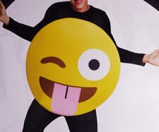 Mens Womens Adult FUNNY Goofy Tongue Out EMOJI Emoticon Halloween Costume M NEW